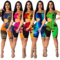 Hollow Out Sexy Strapless Tie-dye Skinny Rompers DAI-8100
