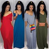 Solid Color Loose Floor-length Long Dress SFY-003