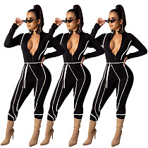 Women Full Sleeves Zipper Slim Jumpsuit DAI-8200