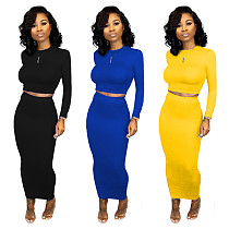 Solid Color Round Collar Long Sleeves Skinny Maxi Skirt Sets 2 Pieces SHD-9181