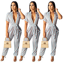 2020 Leisure Stripes Short Sleeves Lapel Jumpsuit SHD-9151