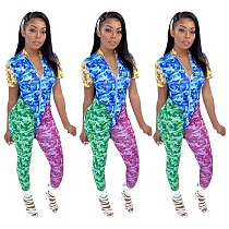 Stylish Printed Patchwork Sport Suits 2 Pieces YF-9599