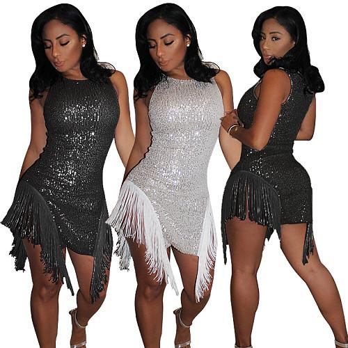 Sexy Tassel Nightclub Short Sequin Dress YF-9574
