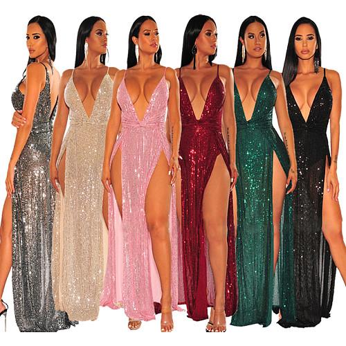 Sexy Deep V Straps Splits Floor-length Sequin Maxi Dress YF-9579
