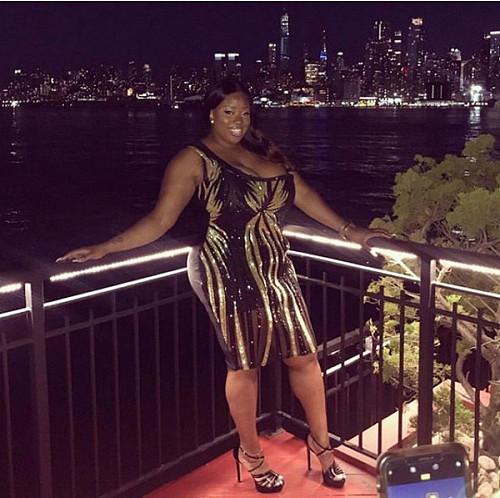 Plus Size Single Shoulder Bodycon Sequin Dress YIF-1081