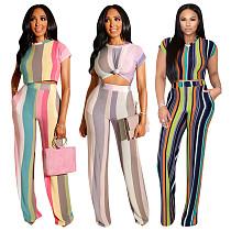 New Striped Prints Wide-legs Pants 2pcs Suits TE-3969