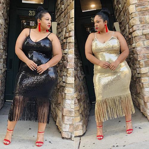 Sexy Straps Sequin Tassel Plus Size Nightclub Dress YIF-1069