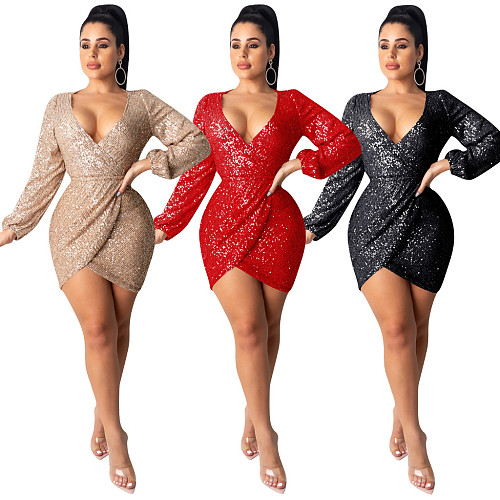 Nightclub Backless V Neck Folds Sexy Short Sequin Sheath Dress TE-3918