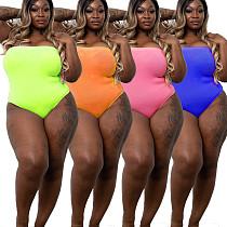Solid Color Sexy Strapless Plus Size Bikinis Swimwear YIF-1027