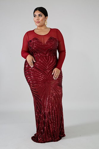 Plus Size Women Long Sleeves Round Neck Floor-length Sequin Dress YIF-1085