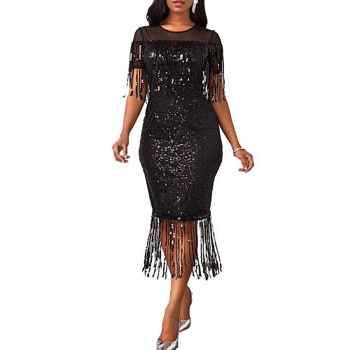 Sexy Nightclub Tassel Skinny Plus Size Sequin Dress XQY-6032