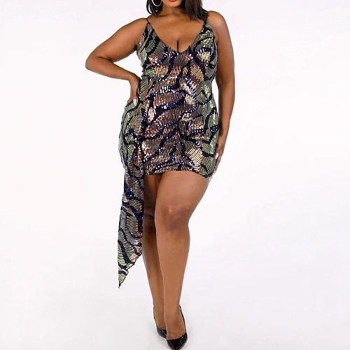 Sexy Straps V Neck Plus Size Mini Sequin Dress YIF-1100