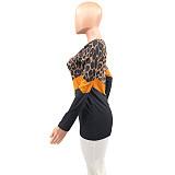Leopard Prints Patchwork Round Collar Leisure Plus Size T-shirt XQY-6037