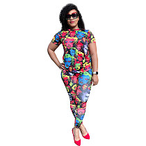 Casual Prints Shorts Sleeves Round Neck Two Pieces Suits FSL-016