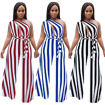 2020 Summer Multi-way Bandage Stripes Wide-legs Jumpsuits SMR-9556