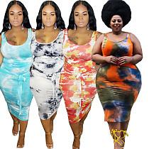 Fashion Tie-dye Sleeveless Skinny Skirt Plus Size Two Pieces Set YIF-1044