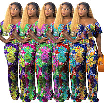 Stylish Printed Strapless Crop Top and Wide-legs Pants 2 Pieces Set SMR-9559