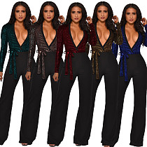 2020 Sexy Deep V Sequin Wide-legs Jumpsuit OSM-4094