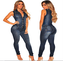 Leisure Sleeveless Lapel Buttons Tight Denim Jumpsuit LX-8696