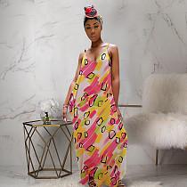 Sexy Straps Printed V Neck Floor-length Maxi Dress PN-6223