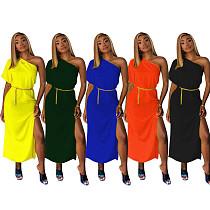 Solid Color Single Shoulder Split Maxi Dress TR-910