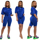 Casual Solid Color Round Neck Sport Shorts 2 Pieces Suits TR-1006