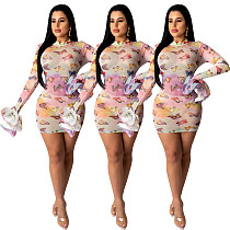 Sexy Perspective Print Mesh Sheer Package Hips Mini Dress YD-8183