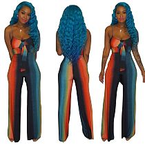 Sexy Gradient Color Straps Crop Top and Straight-legs Pants 2 Pieces Set MOF-5072