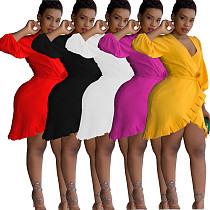 Sexy V Neck Split Flounced Short Dress MOF-5098