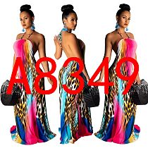 Sexy Open Back Halter Leopard Prints Floor-length Maxi Dress YS-8349