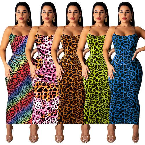 Stylish Leopard Printed Straps Skinny Maxi Dress TE-3812