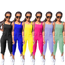 2020 Leisure Stripes Women Suspender Jumpsuit MAE-2020