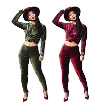 Solid Color Velvet Long Sleeves Bodycon Pants Set 2 Pieces MOF-5126