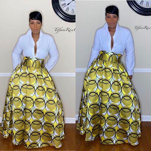 2020 Fashion Prints High Waist Long Skirt MOF-5060