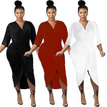 Solid Color V Neck Irregular Skinny Maxi Dress JH-136