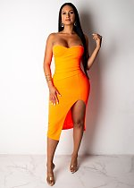 Sexy Wrapped Chest Split Orange Nightclub Maxi Dress JH-112