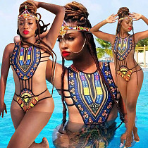 African Printed Sexy Hollow Out One Piece Swimwear AL-022