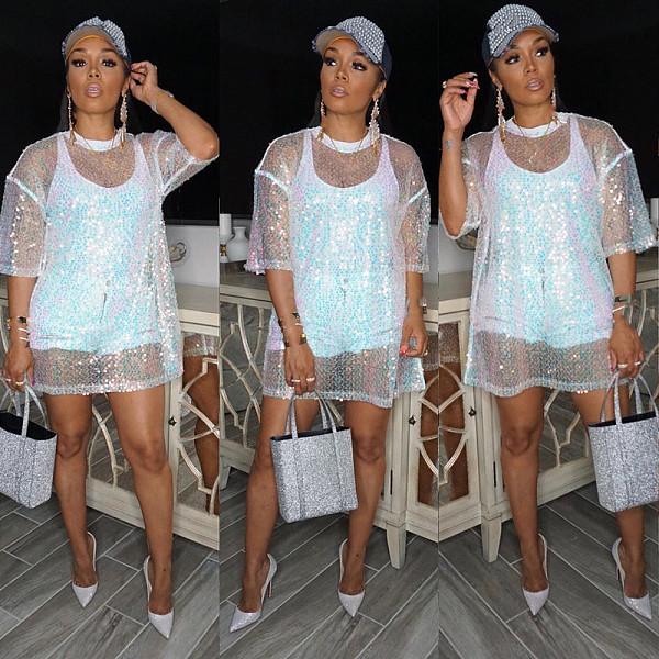 Women Sequin Mesh Sheer Nightclub Tops YH-5074