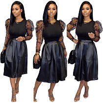 Black Patchwork Tops with PU Leather Maxi Skirt 2 Pieces Suits YS-8402