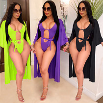 Sexy Solid Color Bikinis with Long Cloak BY-3378