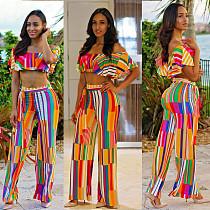Fashion Prints Off Shoulder Crop Top and Long Pants 2 Pieces Set AL-009
