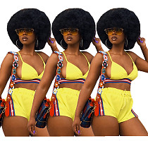 Yellow Cross Back Elastic Band Shorts Bikini Set JH-032