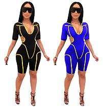 Sexy Hollow Out Stripe Hoodies Skinny Rompers MDF-5117