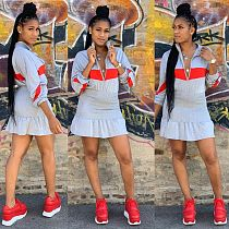 Women Zipper Collar Long Sleeve Pleated Skirt Dress TEN-3370