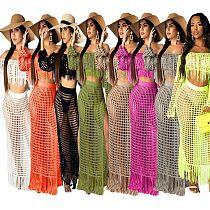 Mesh Off Shoulder Long Sleeve Tops Tassels Maxi Dress Set TR-938