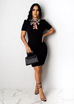 Black Short Sleeves Slim Mini Dress SFY-007