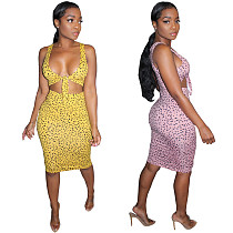 Sexy Leopard Print Crop Top with Bodycon Midi Skirt Suits AIL-074