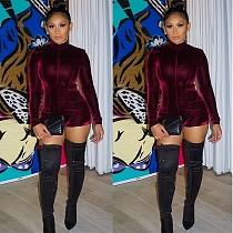 Women Long Sleeves Wine Red Velvet Tight Rompers BN-9036