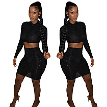 Black Mesh Sheer Hot Drilling Bodycon Nightclub Two Pieces Suits LSL-6041