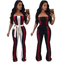 Sexy Strapless Stripes Patchwork Long Jumpsuit with Belt OY-5137